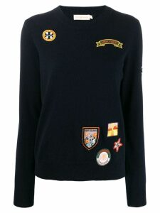 Tory Burch embroidered badge sweatshirt - Blue