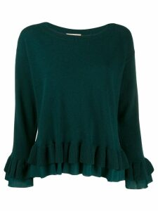 Twin-Set layered ruffled hem jumper - Green