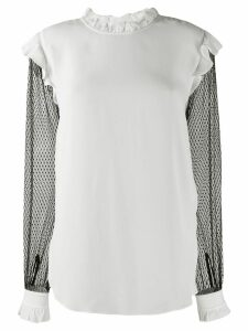 Twin-Set contrast sheer sleeves blouse - White