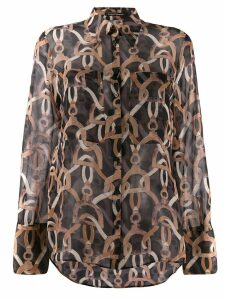 Luisa Cerano sheer chain print shirt - Black