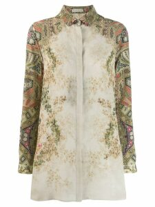 Etro printed longline shirt - Green