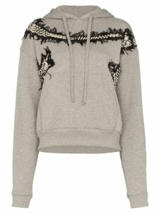 Charles Jeffrey Loverboy appliqué embroidered hoodie - Grey