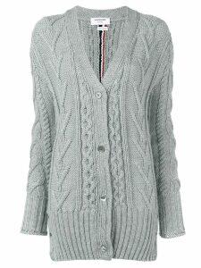 Thom Browne RWB Intarsia Cardigan - Grey