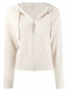 Brunello Cucinelli ribbed knit hooded cardigan - NEUTRALS