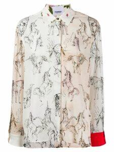 Burberry contrast unicorn print twill shirt - NEUTRALS