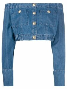 Balmain off-the-shoulder buttoned cropped top - Blue