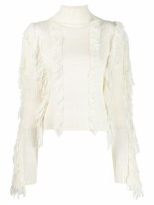 David Koma fringed fitted sweater - White