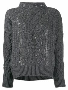 Ermanno Scervino glass-embellished chunky sweater - Grey