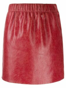Miu Miu cracked effect mini skirt - Red
