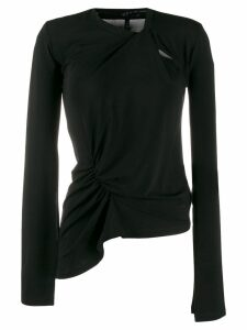 UNRAVEL PROJECT asymmetric long sleeve top - Black