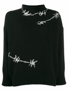 Ermanno Scervino glass-embellished knit sweater - Black