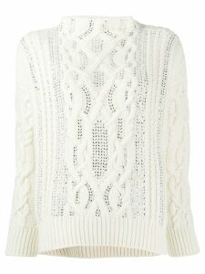 Ermanno Scervino glass-embellished chunky sweater - White