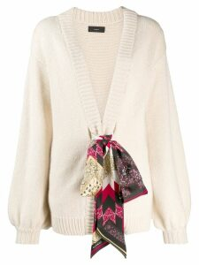 Alanui silk-detail knit cardigan - NEUTRALS