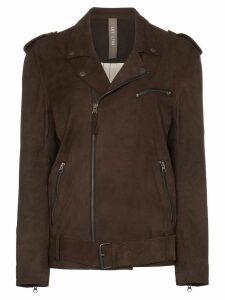 Lot Lthr suede biker jacket - Brown