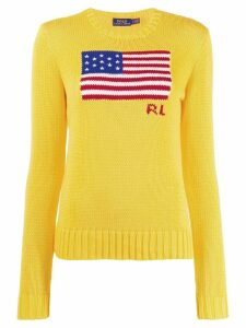 Polo Ralph Lauren logo flag embroidered sweater - Yellow