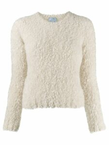 Prada fuzzy knit crew neck jumper - White