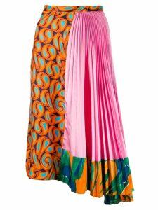 Marni asymmetric contrast print skirt - ORANGE