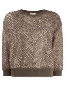 Brunello Cucinelli chevron pattern knitted jumper - NEUTRALS