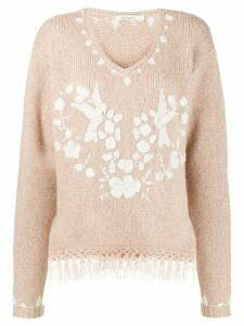 Mes Demoiselles fringed sweatshirt - NEUTRALS