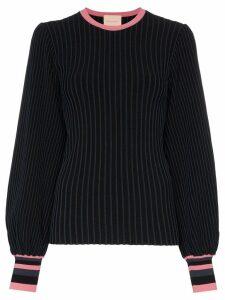 Roksanda Alia rib-knit balloon-sleeve top - NAVY/ PINK