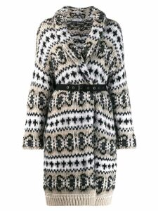 Brunello Cucinelli two-tone patterned card-coat - Black