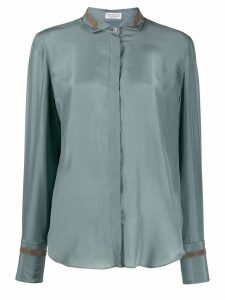 Brunello Cucinelli embellished curved hem shirt - Blue