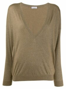 Brunello Cucinelli V neck jumper - Green