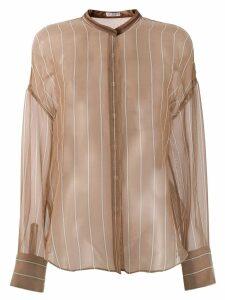Brunello Cucinelli sheer mandarin collar shirt - NEUTRALS