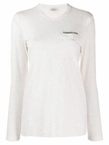 Brunello Cucinelli long sleeved jersey top - White