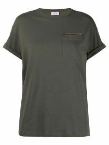 Brunello Cucinelli bead-embellished T-shirt - Green