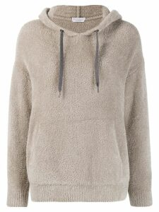 Brunello Cucinelli fleece hooded jumper - NEUTRALS