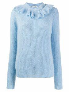Miu Miu ruffled neck jumper - Blue