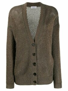 Brunello Cucinelli knitted twill cardigan - Green