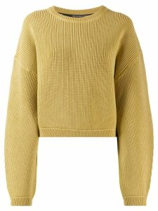 T By Alexander Wang ribbed cropped jumper - NEUTRALS