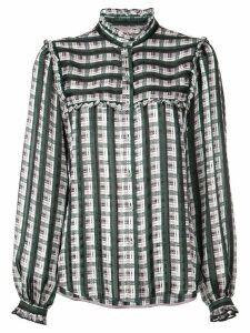 Jason Wu check print ruffled shirt - Green