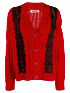 Brognano lace embellished chunky cardigan - Red