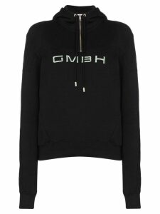 GmbH half-zip logo-embroidered hoodie - Black