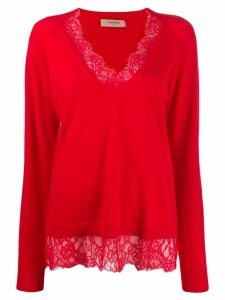 Twin-Set lace trim sweater - Red