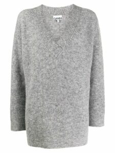 GANNI ribbed oversized jumper - Grey