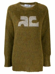 Courrèges contrast logo jumper - Green