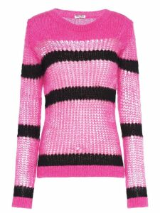 Miu Miu open-weave mohair pullover - PINK