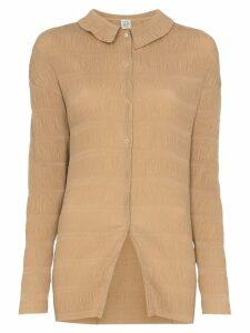 Toteme Anzi crinkled long-line shirt - Brown