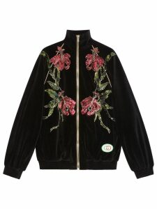 Gucci Chenille jacket with floral patches - Black