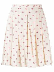 Valentino VLOGO pleated skirt - NEUTRALS