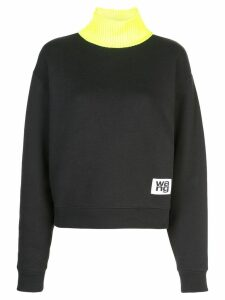T By Alexander Wang logo contrast neck sweatshirt - Black