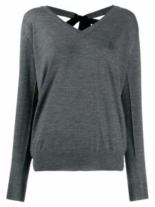 Prada embellished v-neck jumper - Grey
