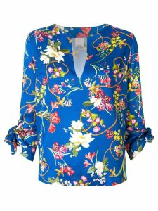 Pinko floral print split-neck blouse - Blue