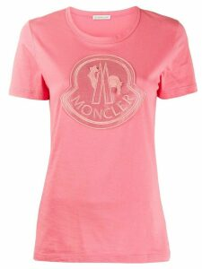 Moncler logo embroidered T-shirt - PINK
