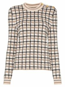 Paco Rabanne button-shoulder check jumper - NEUTRALS