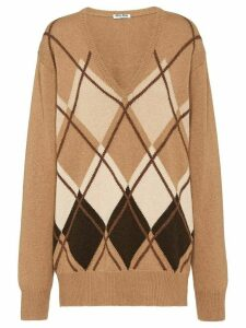 Miu Miu argyle loose jumper - Brown